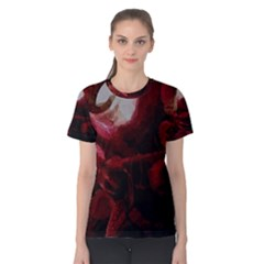 Dark Red Candlelight Candles Women s Cotton Tee