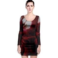 Dark Red Candlelight Candles Long Sleeve Bodycon Dress
