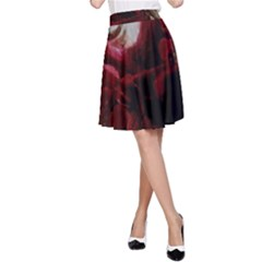 Dark Red Candlelight Candles A-Line Skirt