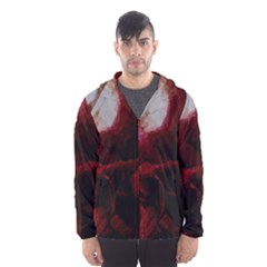 Dark Red Candlelight Candles Hooded Wind Breaker (Men)