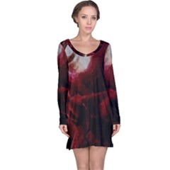 Dark Red Candlelight Candles Long Sleeve Nightdress