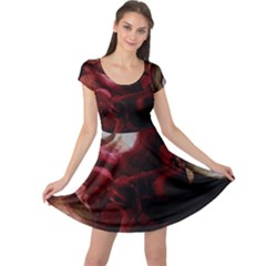 Dark Red Candlelight Candles Cap Sleeve Dresses