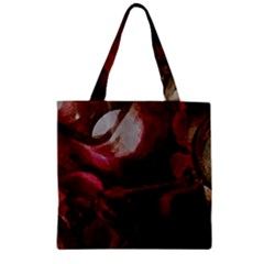 Dark Red Candlelight Candles Zipper Grocery Tote Bag