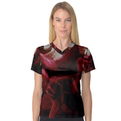 Dark Red Candlelight Candles Women s V-Neck Sport Mesh Tee