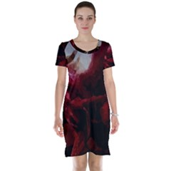 Dark Red Candlelight Candles Short Sleeve Nightdress