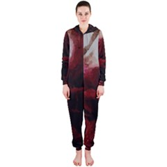 Dark Red Candlelight Candles Hooded Jumpsuit (Ladies)