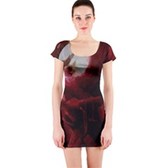 Dark Red Candlelight Candles Short Sleeve Bodycon Dress