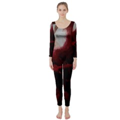 Dark Red Candlelight Candles Long Sleeve Catsuit