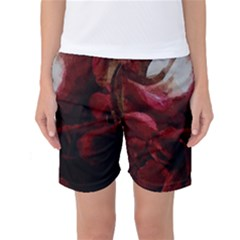 Dark Red Candlelight Candles Women s Basketball Shorts
