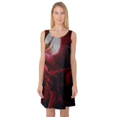 Dark Red Candlelight Candles Sleeveless Satin Nightdress