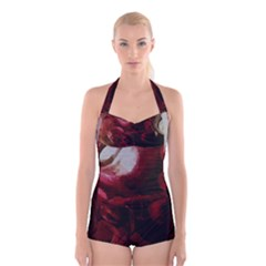 Dark Red Candlelight Candles Boyleg Halter Swimsuit