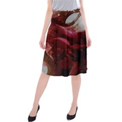 Dark Red Candlelight Candles Midi Beach Skirt