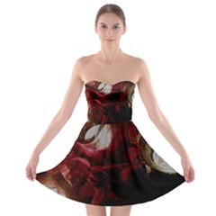 Dark Red Candlelight Candles Strapless Bra Top Dress