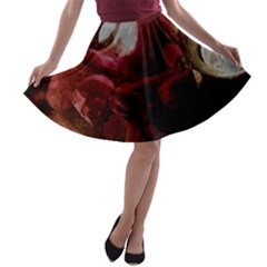 Dark Red Candlelight Candles A-line Skater Skirt