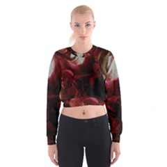 Dark Red Candlelight Candles Women s Cropped Sweatshirt
