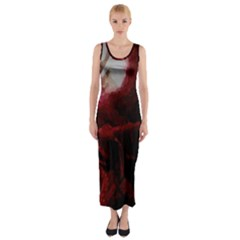 Dark Red Candlelight Candles Fitted Maxi Dress