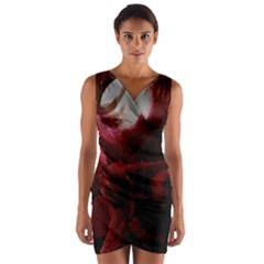 Dark Red Candlelight Candles Wrap Front Bodycon Dress