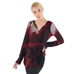 Dark Red Candlelight Candles Women s Tie Up Tee