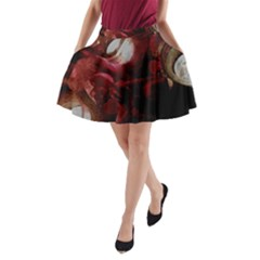 Dark Red Candlelight Candles A-Line Pocket Skirt