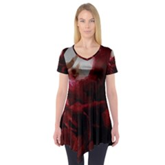 Dark Red Candlelight Candles Short Sleeve Tunic