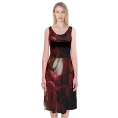 Dark Red Candlelight Candles Midi Sleeveless Dress