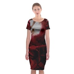 Dark Red Candlelight Candles Classic Short Sleeve Midi Dress