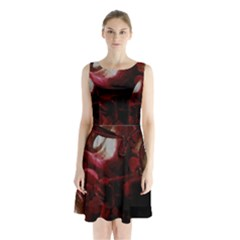 Dark Red Candlelight Candles Sleeveless Chiffon Waist Tie Dress