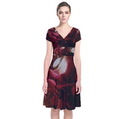 Dark Red Candlelight Candles Short Sleeve Front Wrap Dress