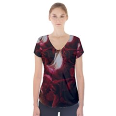 Dark Red Candlelight Candles Short Sleeve Front Detail Top