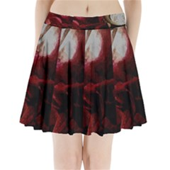 Dark Red Candlelight Candles Pleated Mini Skirt