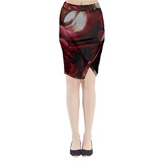 Dark Red Candlelight Candles Midi Wrap Pencil Skirt