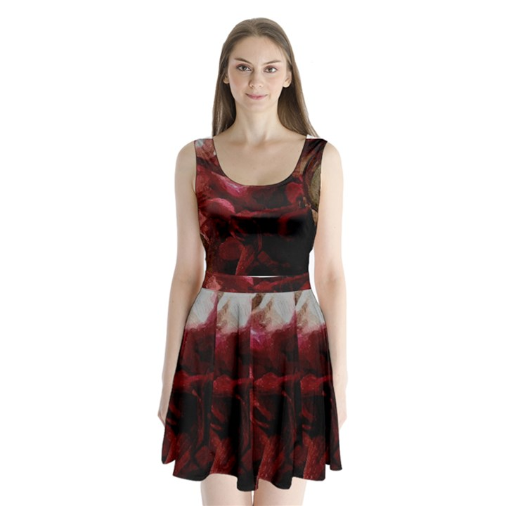 Dark Red Candlelight Candles Split Back Mini Dress
