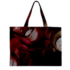 Dark Red Candlelight Candles Medium Zipper Tote Bag