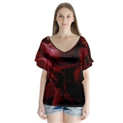 Dark Red Candlelight Candles Flutter Sleeve Top