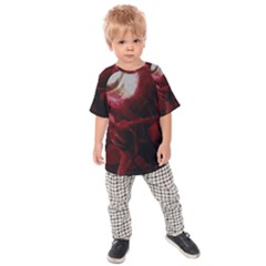 Dark Red Candlelight Candles Kids  Raglan Tee
