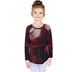 Dark Red Candlelight Candles Kids  Long Sleeve Tee