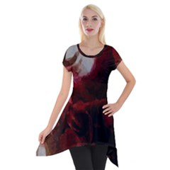 Dark Red Candlelight Candles Short Sleeve Side Drop Tunic