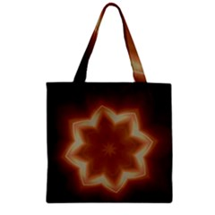 Christmas Flower Star Light Kaleidoscopic Design Zipper Grocery Tote Bag
