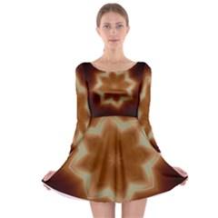 Christmas Flower Star Light Kaleidoscopic Design Long Sleeve Skater Dress