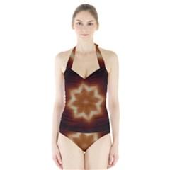 Christmas Flower Star Light Kaleidoscopic Design Halter Swimsuit