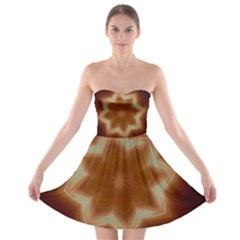 Christmas Flower Star Light Kaleidoscopic Design Strapless Bra Top Dress