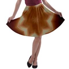 Christmas Flower Star Light Kaleidoscopic Design A-line Skater Skirt