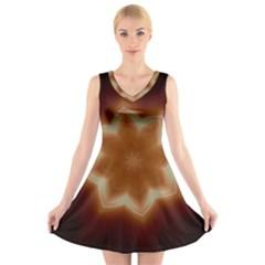 Christmas Flower Star Light Kaleidoscopic Design V-Neck Sleeveless Skater Dress