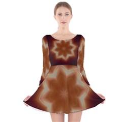 Christmas Flower Star Light Kaleidoscopic Design Long Sleeve Velvet Skater Dress