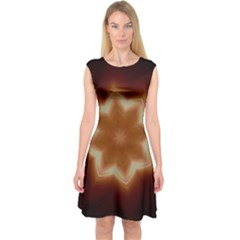 Christmas Flower Star Light Kaleidoscopic Design Capsleeve Midi Dress