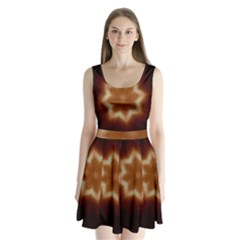 Christmas Flower Star Light Kaleidoscopic Design Split Back Mini Dress