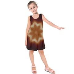 Christmas Flower Star Light Kaleidoscopic Design Kids  Sleeveless Dress