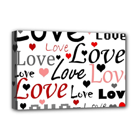 Love pattern - red Deluxe Canvas 18  x 12