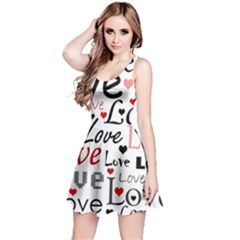 Love pattern - red Reversible Sleeveless Dress
