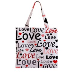 Love pattern - red Grocery Tote Bag